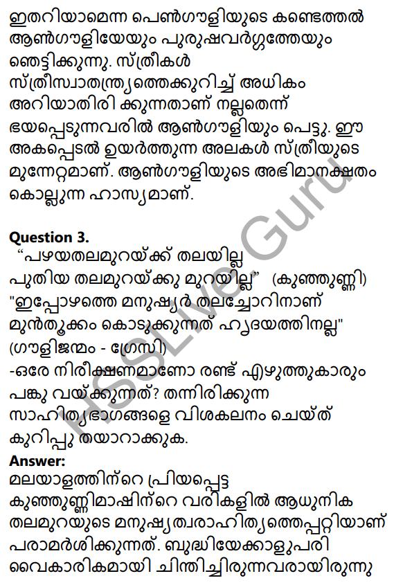 Plus Two Malayalam Textbook Answers Unit 3 Chapter 2 Gauli Janmam 10