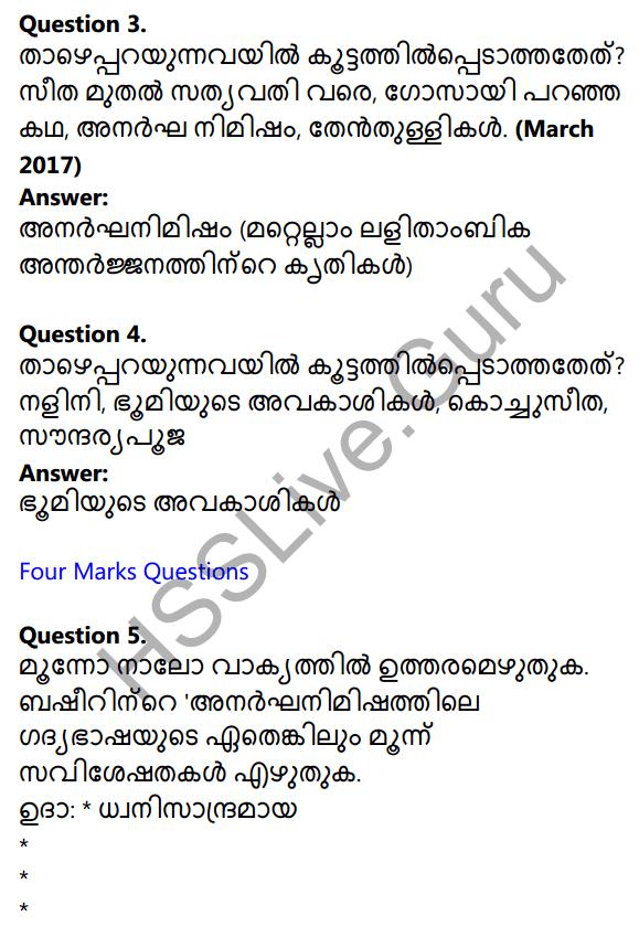 Plus One Malayalam Textbook Answers Unit 3 Chapter 3 Anargha Nimisham 16