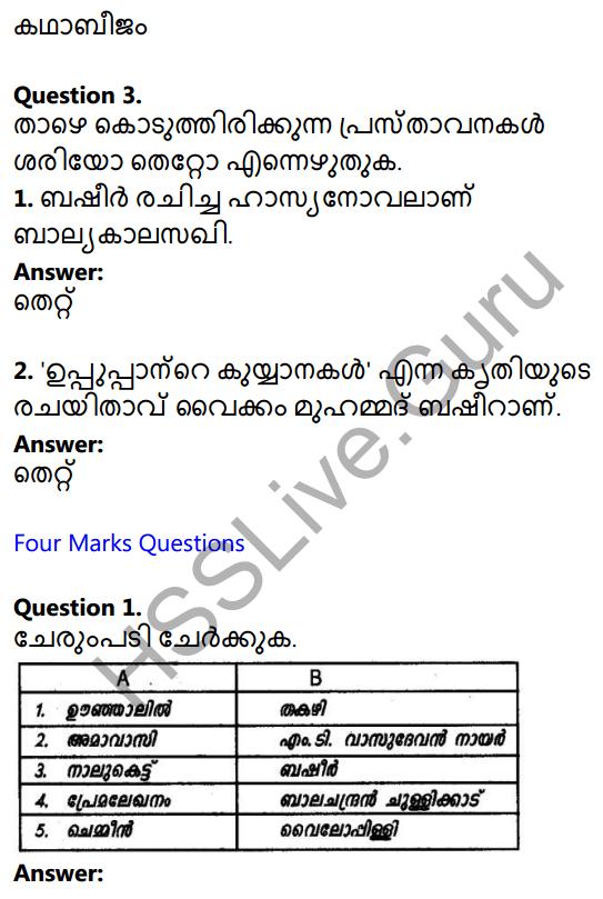 Plus One Malayalam Textbook Answers Unit 3 Chapter 3 Anargha Nimisham 2