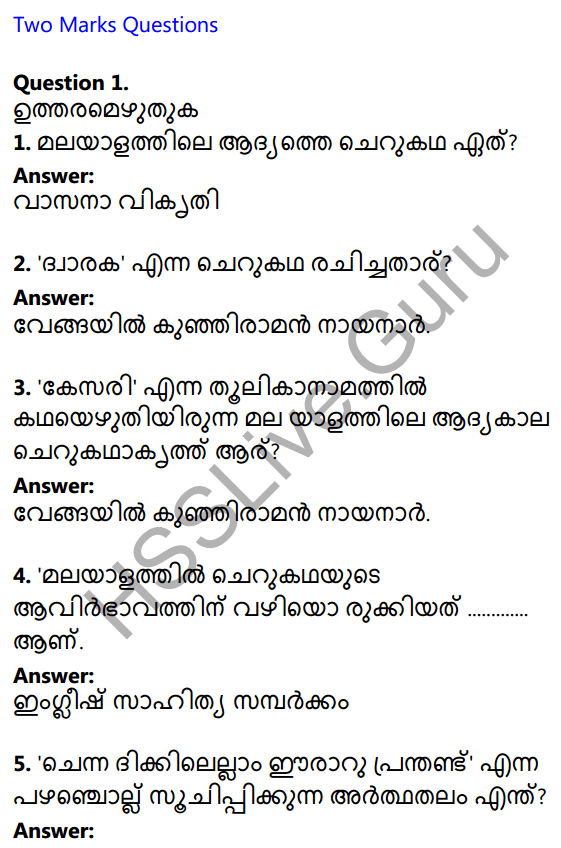 Plus One Malayalam Textbook Answers Unit 4 Chapter 4 Vasanavikrithi 1