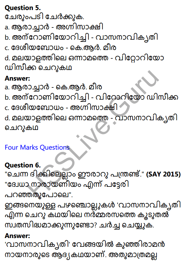 Plus One Malayalam Textbook Answers Unit 4 Chapter 4 Vasanavikrithi 28