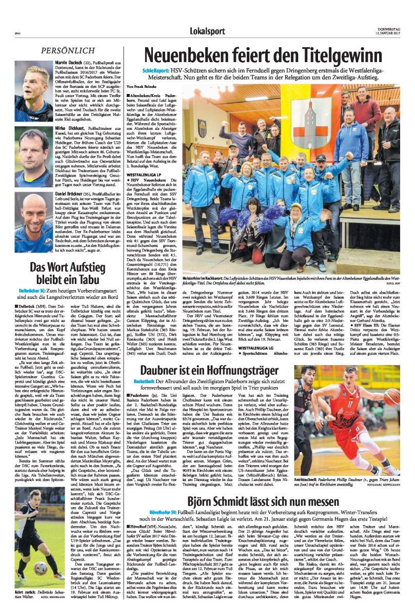 """Presseartikel """"Neue Westfälische"""" vom 12.01.2017"""