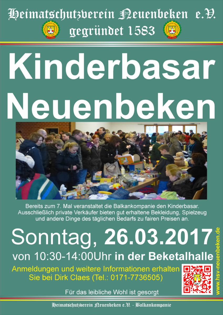 7. Kinderbasar in der Beketalhalle am 26.03.2017