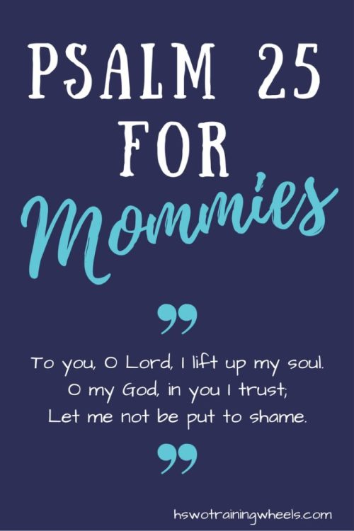 Motherhood is a big job.  It comes with its share of fears and loneliness.  What does it look like to be preserved by the Lord?  Read Psalm 25 with me.