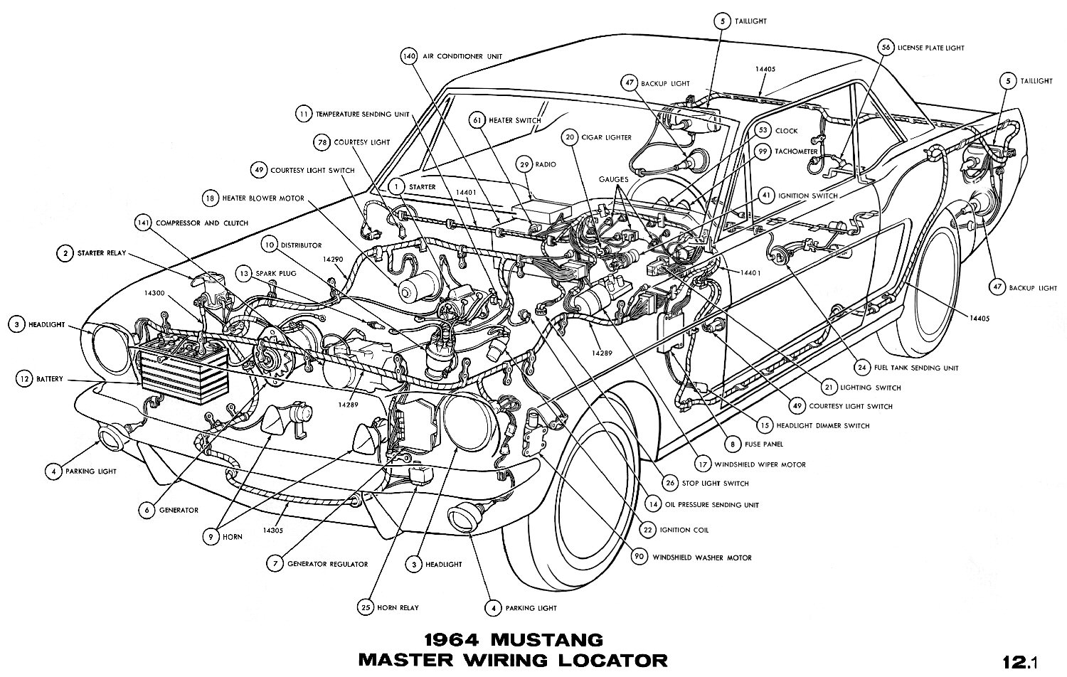 schematic drawing console mustang 1966