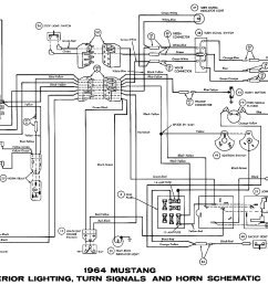 1964 mustang exterior lightning turn signals and horn schematic [ 1500 x 947 Pixel ]