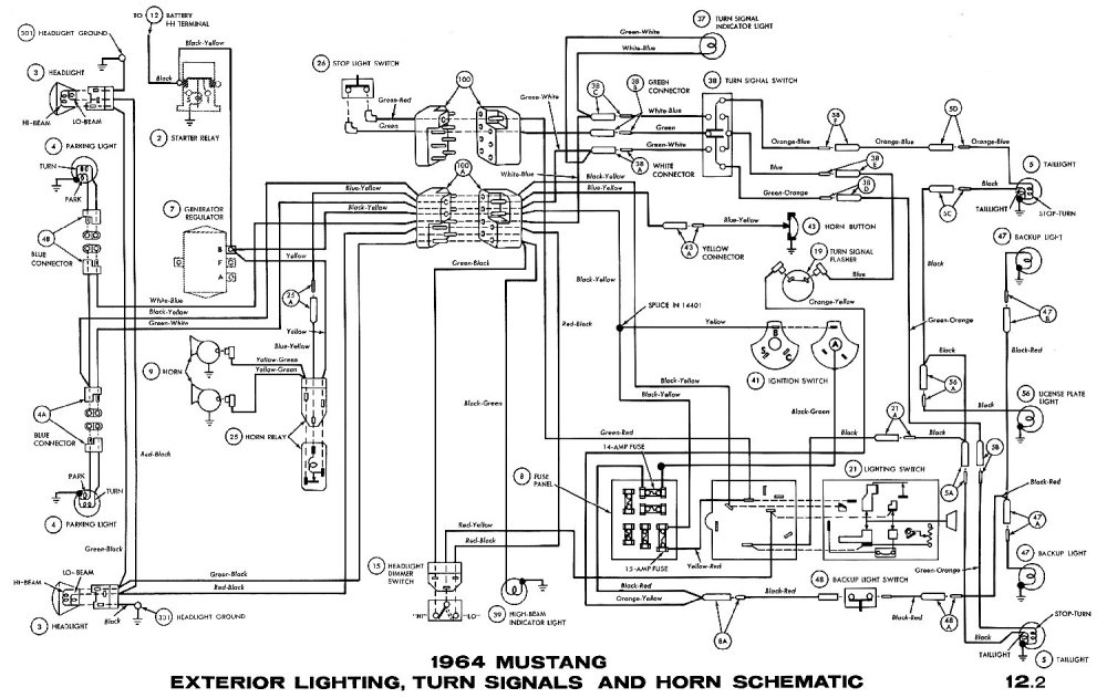 medium resolution of 1964 mustang exterior lightning turn signals and horn schematic
