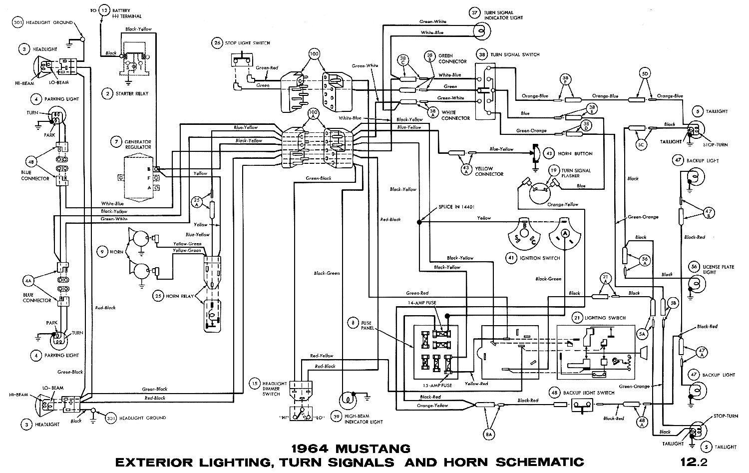 hight resolution of 1964 mustang exterior lightning turn signals and horn schematic