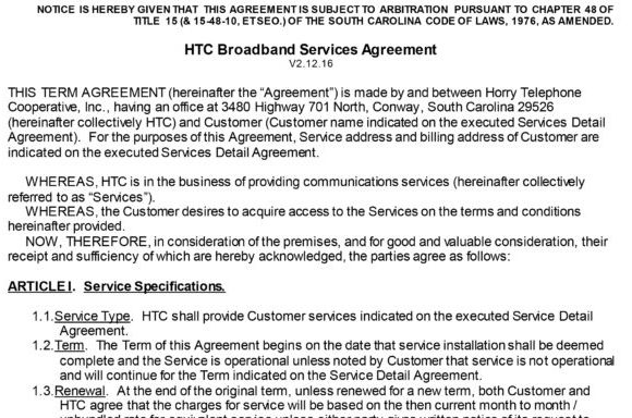Business Service Agreements | HTC Inc.