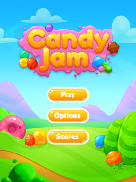 Candy Jam HTML5 game start screen