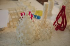 3D printed lollipop stands, prototypes of wedding breakfast table decorations.