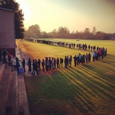 Long queues and long shadows at voting stations. Fingers crossed they move quickly. #voteSA Photo by @greg_ce