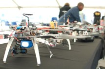 An army of drones lined up for the demo day.