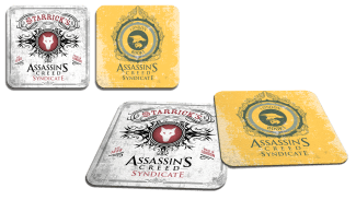 AC-themed coasters.