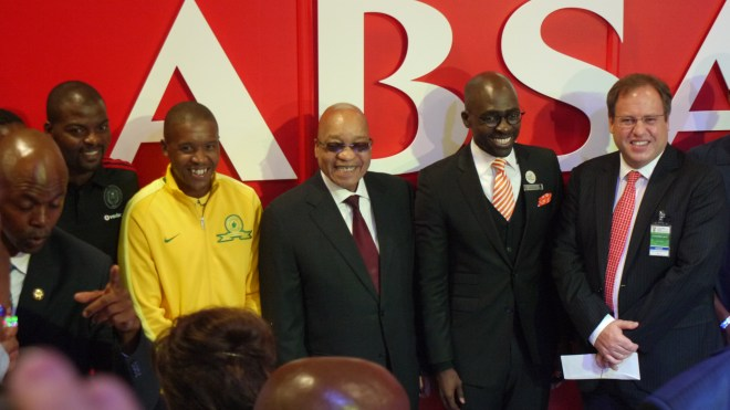 President Jacob Zuma poses with Home Affairs minister Malusi Gigaba, at the Absa exhibition of the eHome Affairs launch