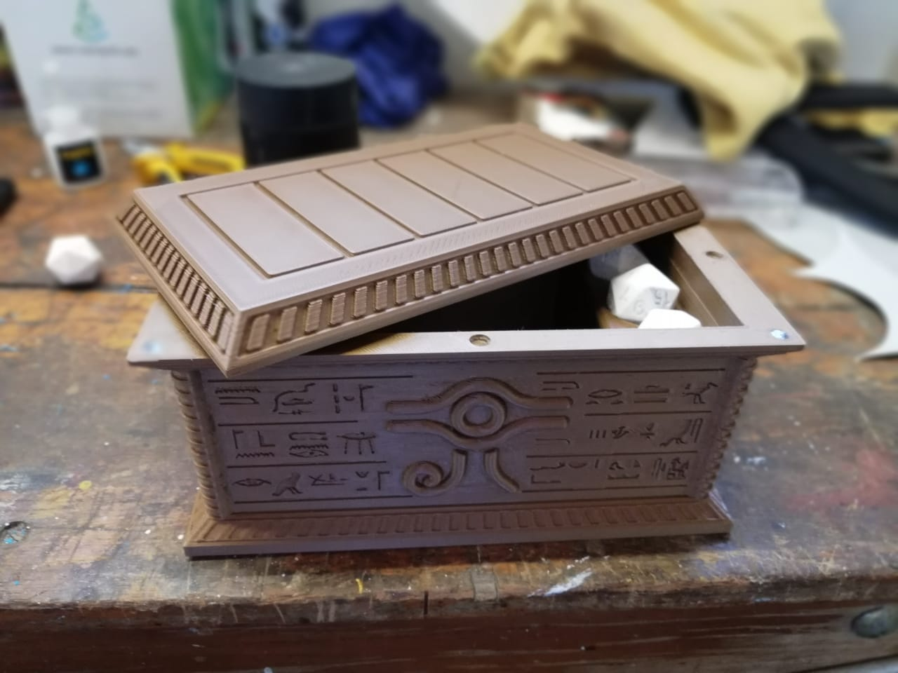 store your yu gi oh cards in this 3d printed millennium puzzle box