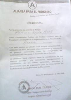 Documento que acredita