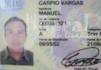 Licencia del conductor del tráiler.