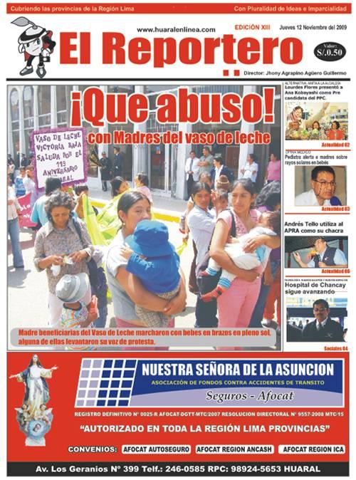 Portada Edición 13 - El Reportero Noviembre I