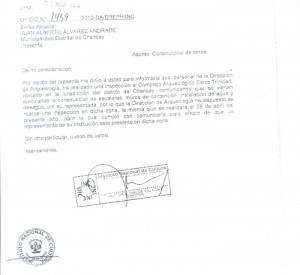 Documento enviado a la Municipalidad de Chancay. Clic para ampliar