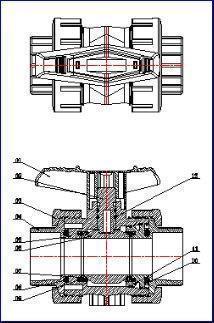 CPVC Socket True Union Ball Valve DIN ASTM Manual 1.0Mpa