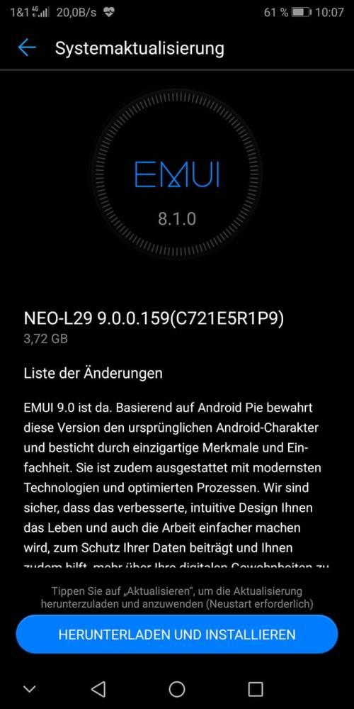 HUAWEI Android Pie Update offiziell mit dem Mate RS gestartet 1
