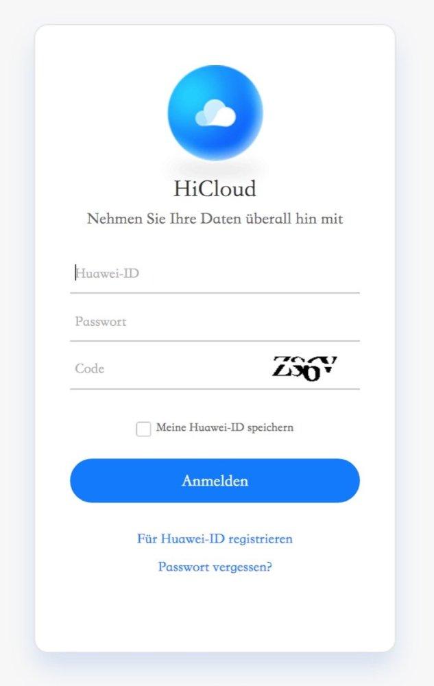 Huawei HiCloud Login
