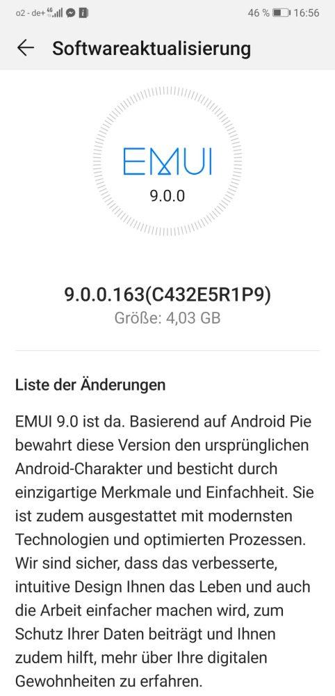 HUAWEI P20 Pro offizielles Android 9 Update gestartet