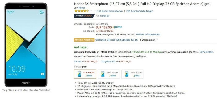 honor 6X Amazon Angebot