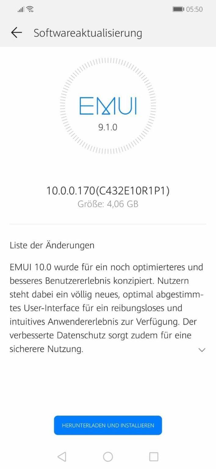 Huawei Mate 20 Lite emui 10 update