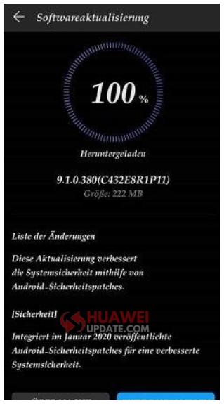 Huawei P20 Pro Jan 2020 Security Update EMUI 9.1.0.380