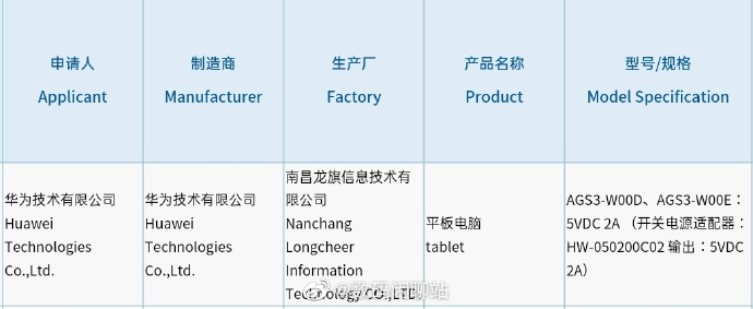 AGS3-W00D and AGS3-W00E Tablet Huawei