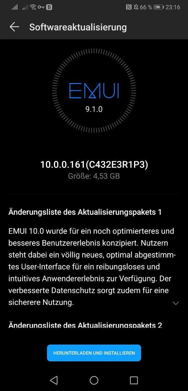 EMUI 10 P20 Pro Germany 10.0.0.161