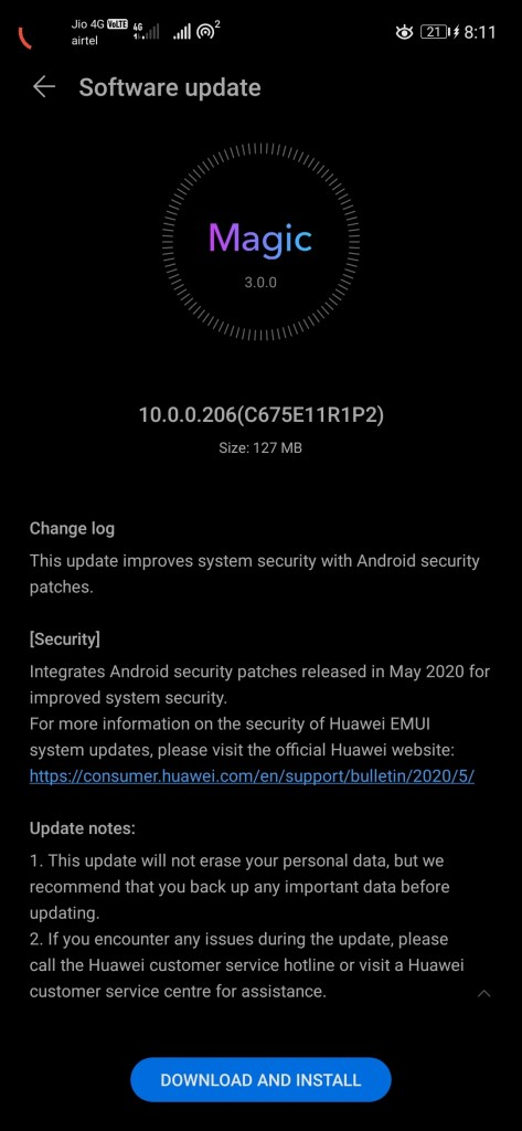 Honor 20 May 2020 patch