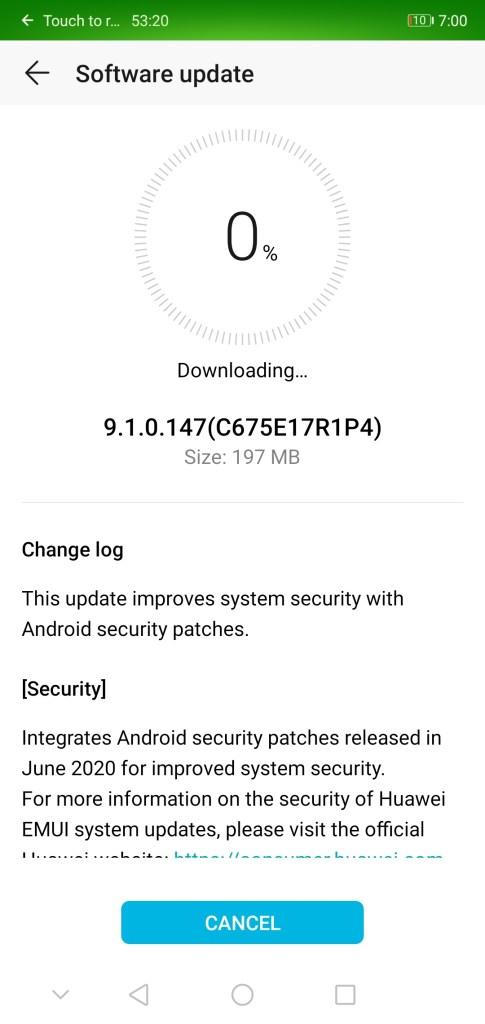 Honor 9n June 2020 security update