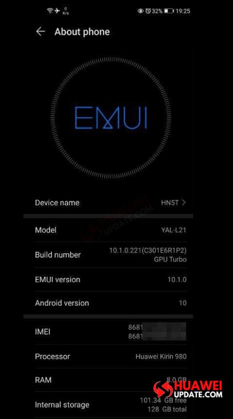 Huawei Nova 5T EMUI 10.1.0.221