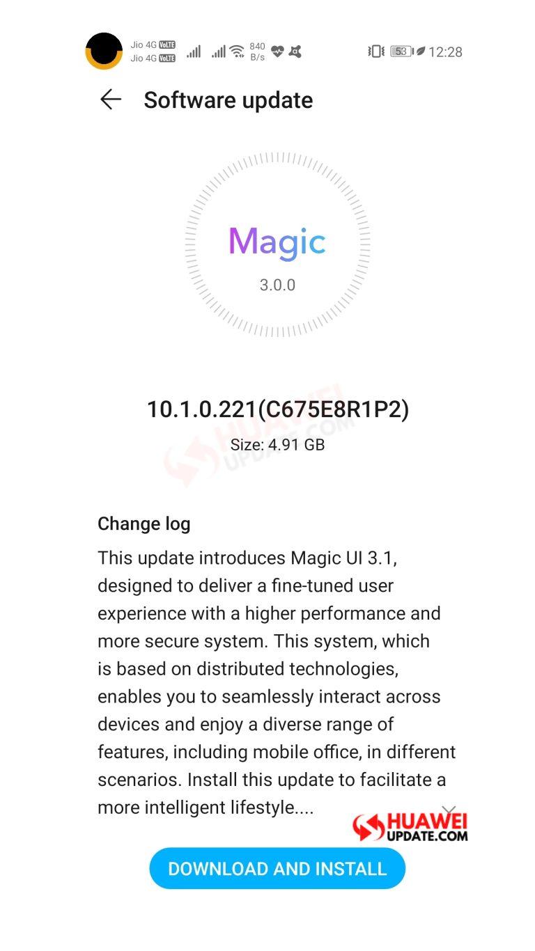 Magic UI 3.1 Honor View 20 India