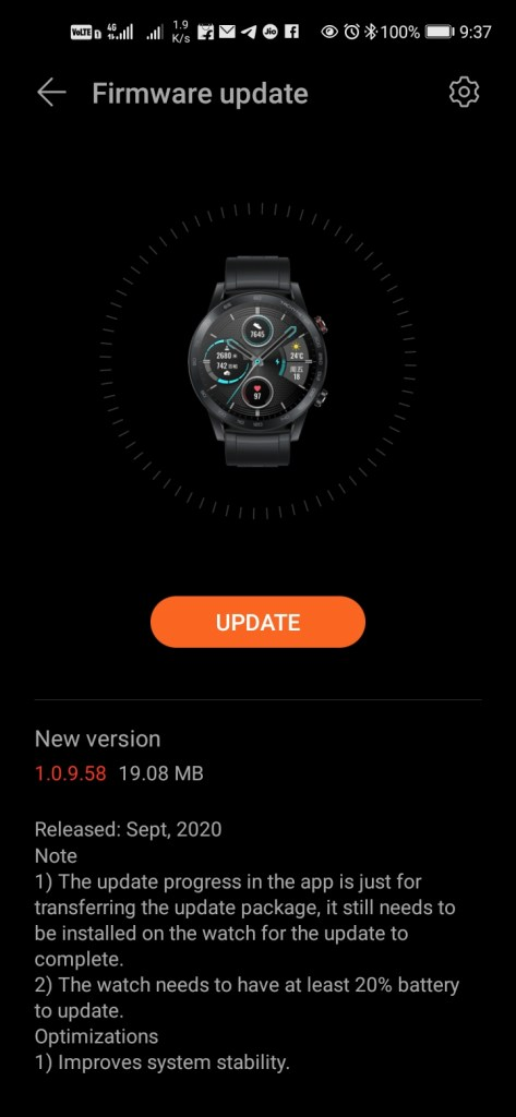 Honor MagicWatch 2 Version 1.0.9.58