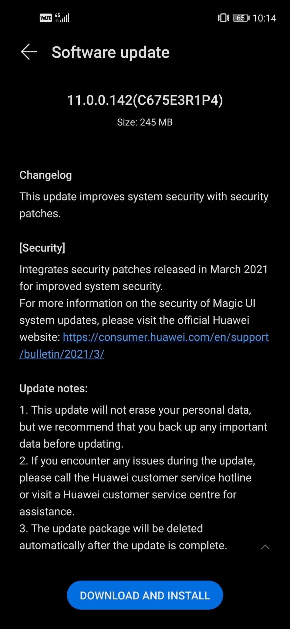 Honor 20 Magic UI 4 (EMUI 11) Version 11.0.0.142
