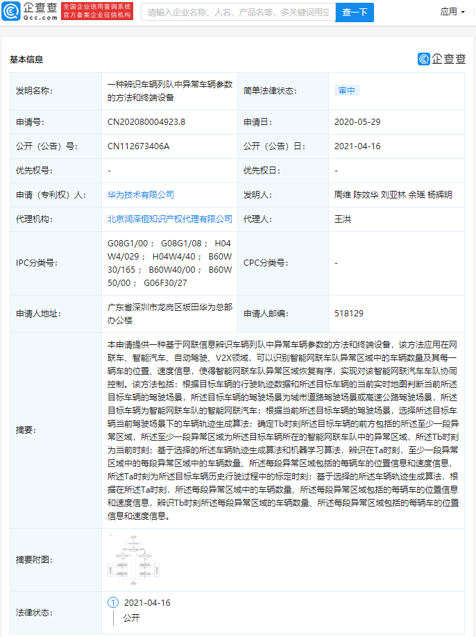 Huawei abnormal vehicle parameters patent