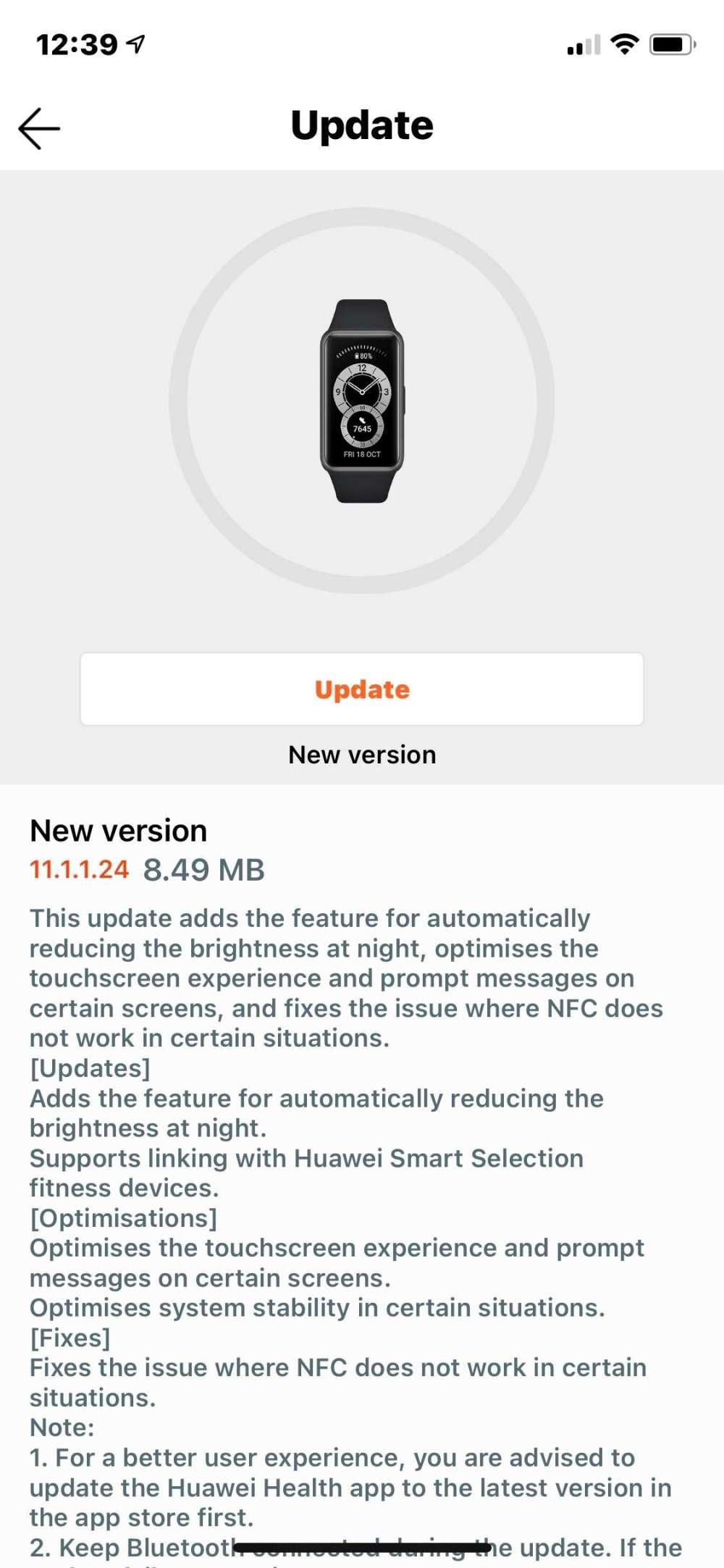 Huawei Band 6 Update Version 11.1.1.24