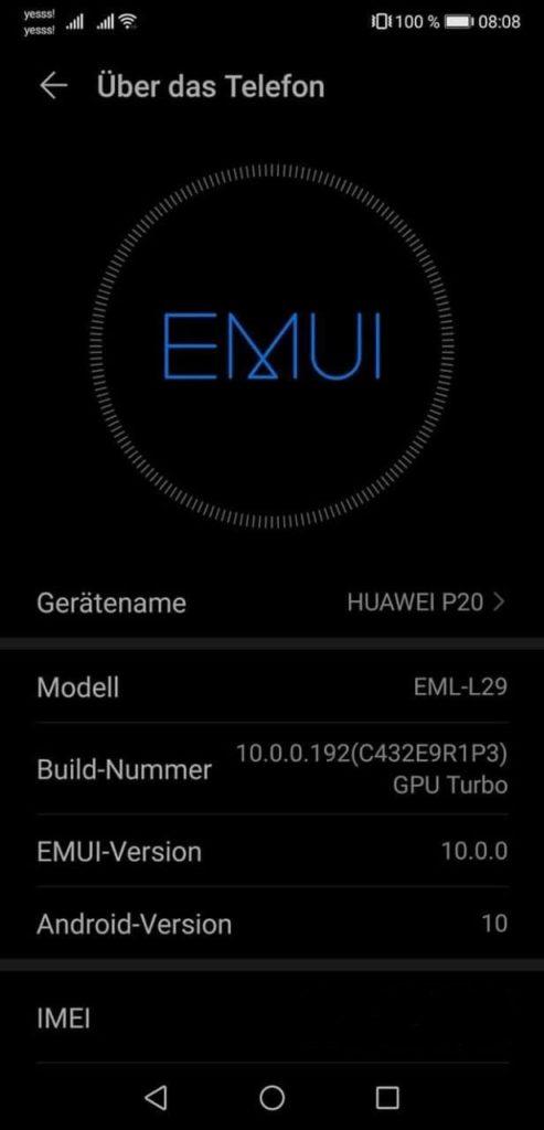 Huawei P20 EMUI 10.0.0.192