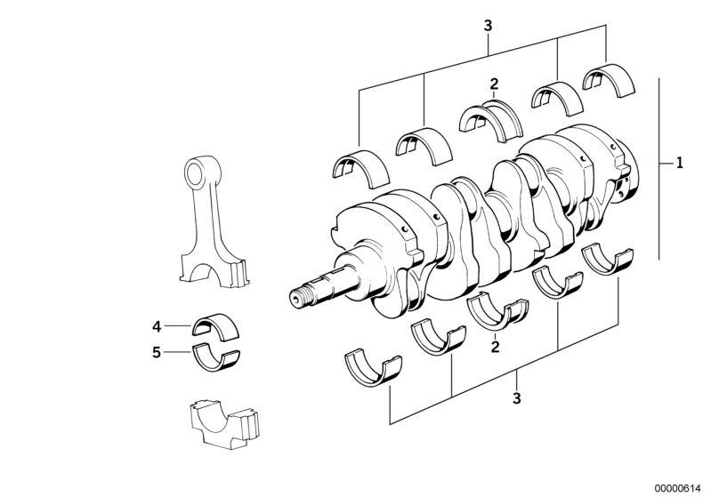 BMW Kurbeltrieb-Kurbelwelle mit Lagerschalen 316 E30