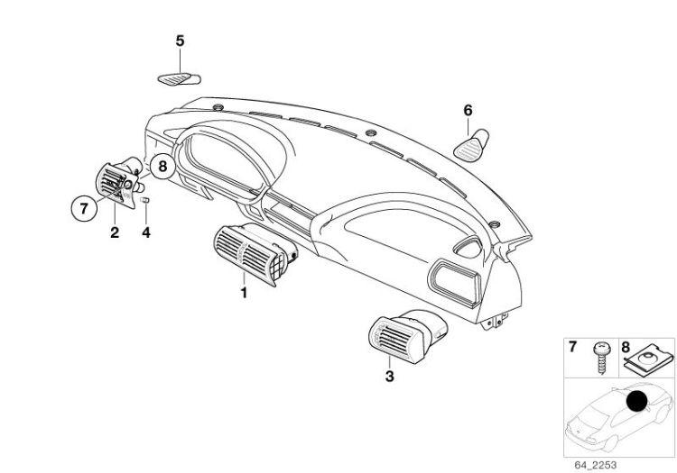 Original BMW FRESH AIR GRILLE CENTER Z8 Roadster E52