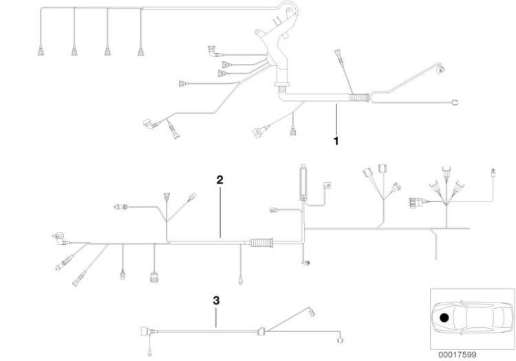 Original BMW wiring harness, engine grbx. module 3er E90