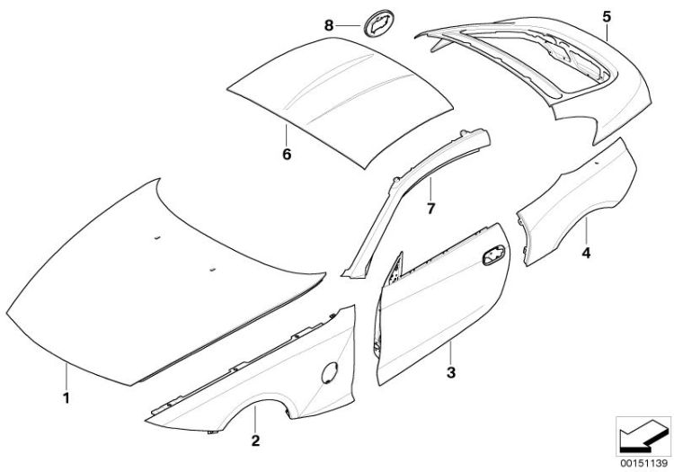 Original BMW Side panel, front right Z4 Roadster E89