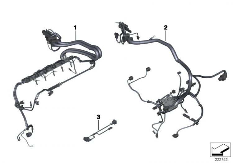 Original BMW wiring harness, engine grbx. module X6 F16