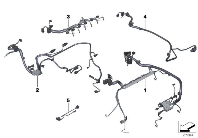 Original BMW wiring harness, engine grbx. module 7er F02