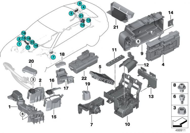 Original BMW Power distribution box, rear X1 E84 HIGH