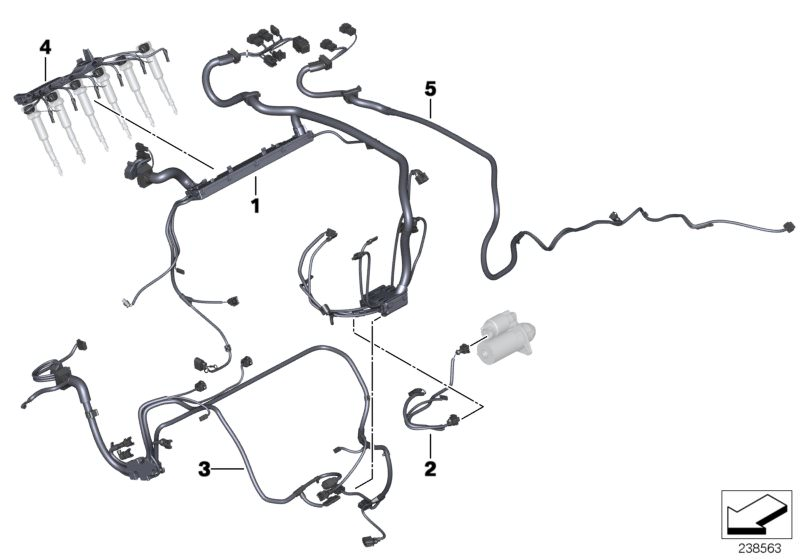 Original BMW Engine wiring harness, engine module 5er F11